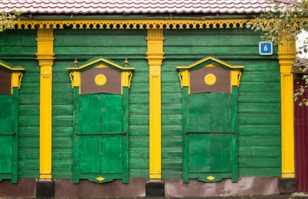 colored window: Beautifully carved old colored window, Irkutsk, Russia