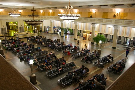 novosibirsk: Novosibirsk, Russia - August 16, 2014: People are waiting in waiting room at Novosibirsk Glavnyy Train Station. Editorial