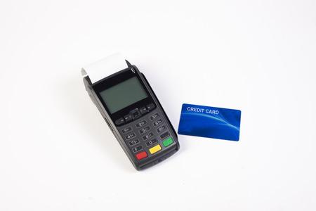 Credit card machine isolated on white background photo
