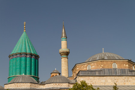 Konya, Turkey - August 30, 2013: Roofs of the Mevlana Museum Enterance. There is a arabic script written Ma Sha Allah. The Mevlna Museum, located in Konya, Turkey, is the mausoleum of Jalal ad-Din Muhammad Rumi, a Persian Sufi mystic also known as Mevln