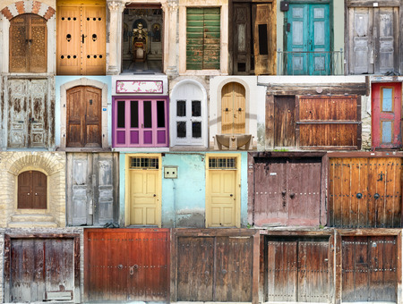 A photo collage of colourful front doors to houses and homes photo