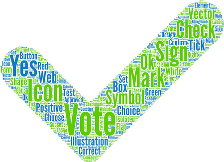 check sign: Check sign shaped word cloud concept