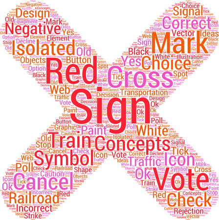 x marks the spot: cross sign word cloud concept Illustration