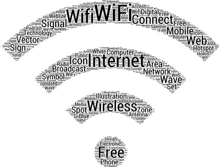 mobile internet: Wifi icon shaped free internet word cloud concept Illustration