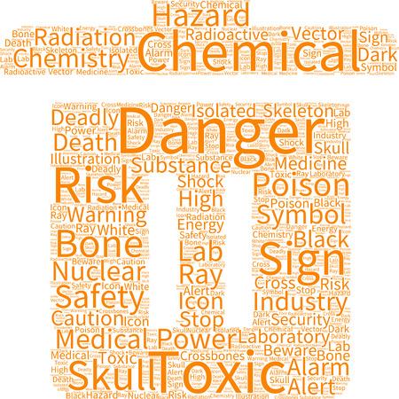 caution chemistry: vector skull danger sign word cloud Illustration