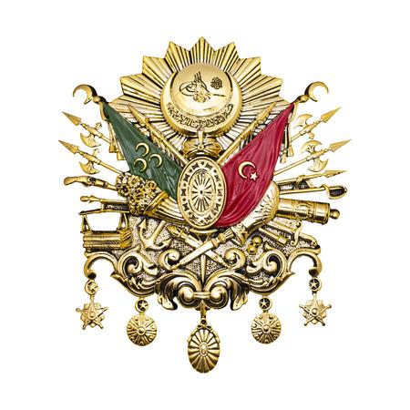Emblema dell'Impero Ottomano. Emblema dell'Impero Ottomano foglia d'oro isolato su bianco