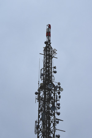 Digital signal waves from the top. Mobile telephone network. big tower Stock fotó