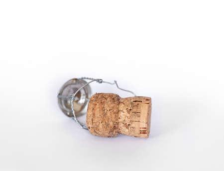 Champagne cork isolated, white background Stockfoto