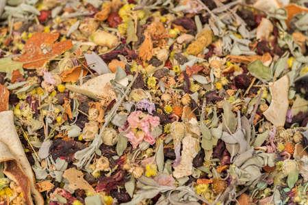 alternative medicine, herbal tea, mixed dried plant,