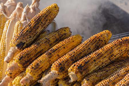 fried corn at street food, roasted