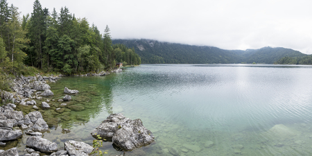 lakeview: beautiful lakeview to eibsee and Zugspitze, bavarian landmark Stock Photo