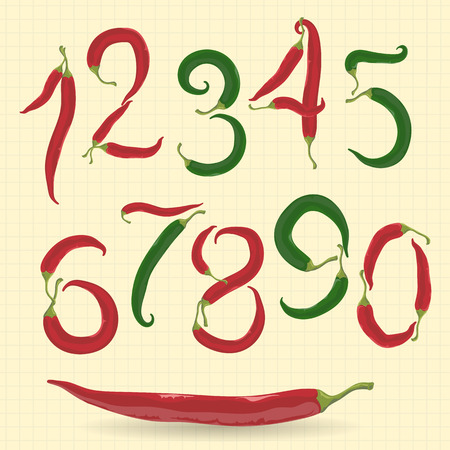 typeface: Red and green chilly peppers figures for typeface.