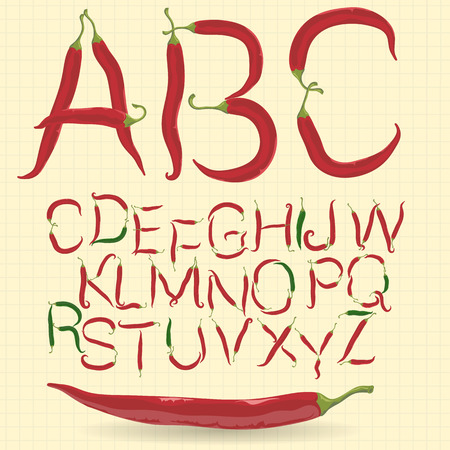 red chilly: Red and green hot chilly pepper alphabet.