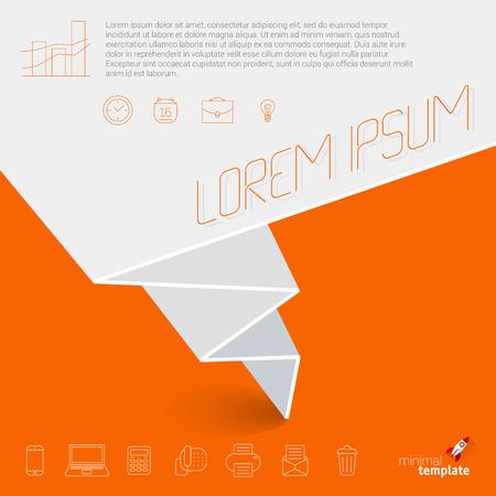 folded paper: Folded paper banner. Flat design minimalist vector template Illustration