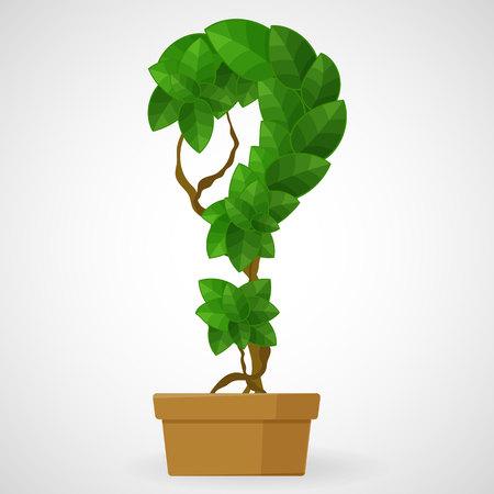 Question mark tree in the pot Stock Illustratie