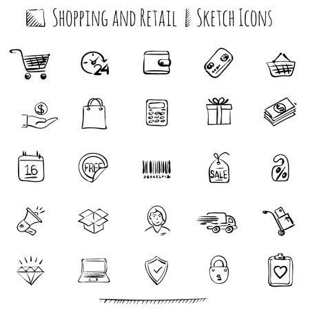 Thin line sketch styled web icon set for E-commerce, retail and shopping.