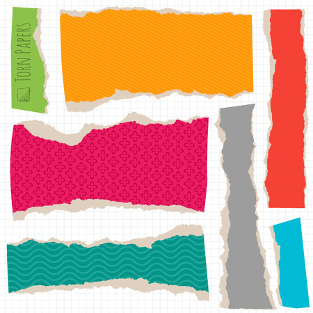 torn cardboard: Multi colored torn paper an cardboard design element set.