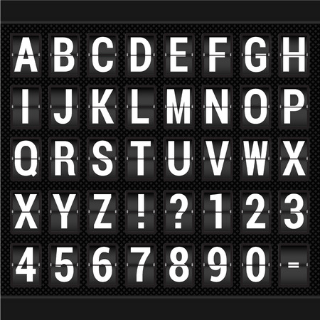 departure: Airport arrival and departure display alphabet