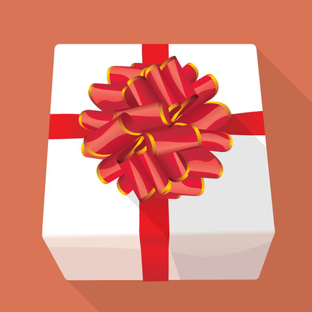 red gift box: White gift box with red ribbon.