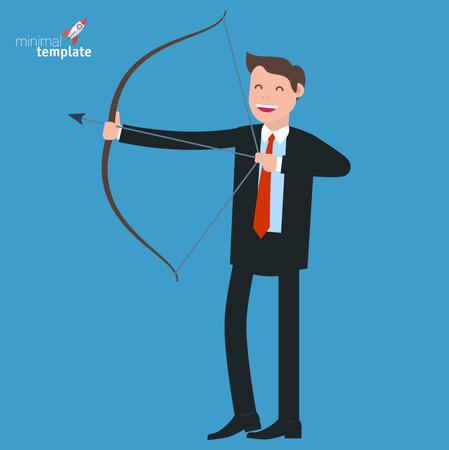 temlate: Young businessman shooting arrow. Flat design vector temlate.