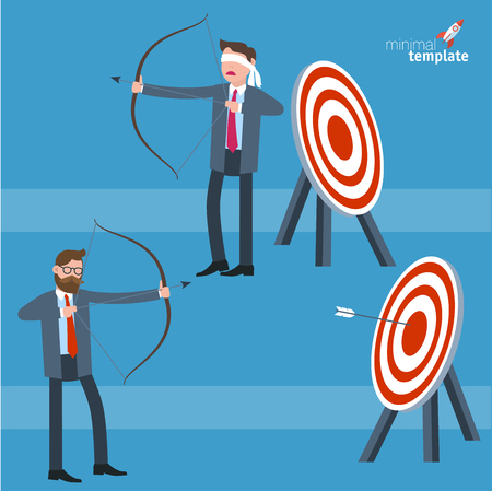 Young businessman shooting arrow and blindfold businessman looking for target. Flat design vector template. Illustration