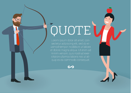 temlate: Young businessman  shooting arrow accurately to the apple on young women head. Flat design vector temlate. shooting arrow. Flat design vector template. Illustration