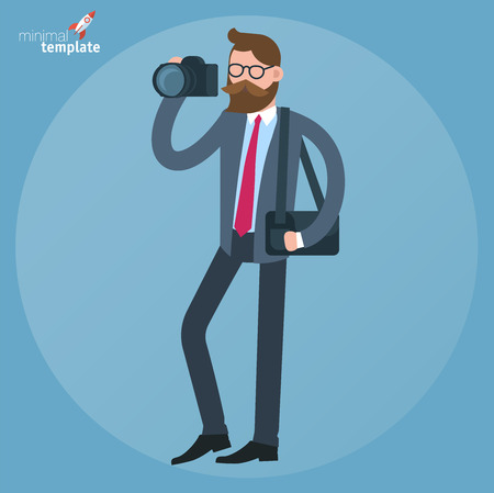 Cartoon man in business suit with dslr camera doodle icon concept. Flat design, vector template illustration .