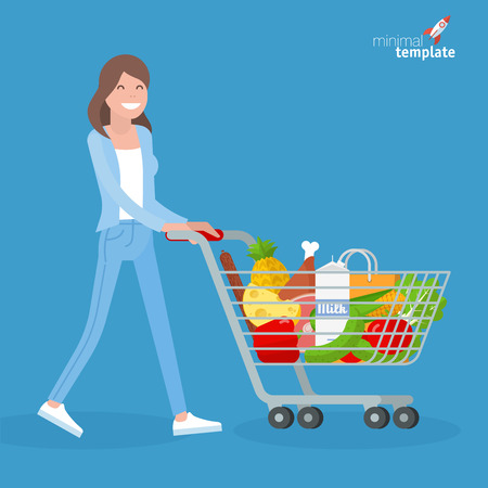 Young woman walking with shopping cart. Flat design vector people different characters, styles and professions,   diverse acting poses collection.