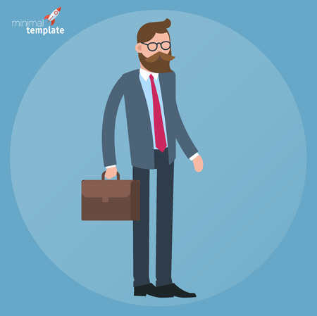 Cartoon men in business suit standing with breefacase doodle icon concept. Flat design, vector template illustration .