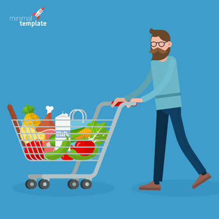 Young man walking with shopping cart. Flat design vector people different characters, styles and professions,   diverse acting poses collection.