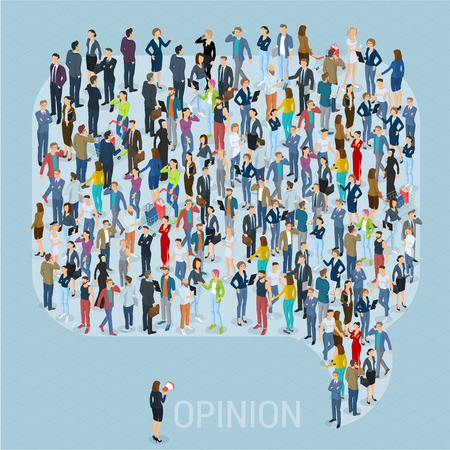 La opinión pública 3d gente isométrica redes sociales simulacro. Gente muchedumbre comentario icono de forma de marco de burbuja de discurso. Plantilla de presentación de vector isométrica. Ilustración de vector