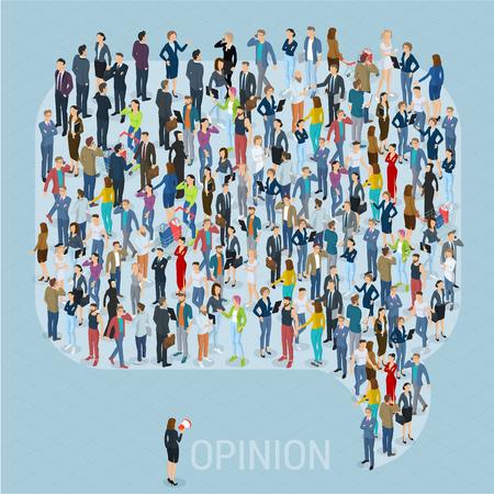 Opinia publiczna 3d izometryczny ludzie z sieci społecznościowych makiety. Ludzie tłum komentują dymek ikona kształt ramki. Szablon prezentacji izometryczny wektor. Ilustracje wektorowe