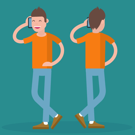 phoning: Cartoon trendy geek with mobile. Front and back view. Flat design, vector template illustration of young men phoning.
