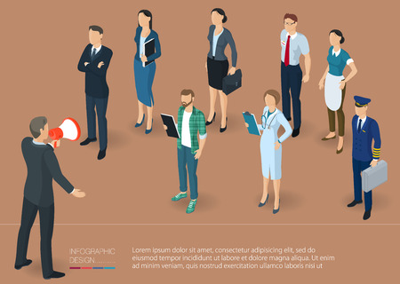 Flat design 3d isometric business woman promoter with loudspeaker talking to crowd.  Megaphone alert promotion and propaganda  vector template.