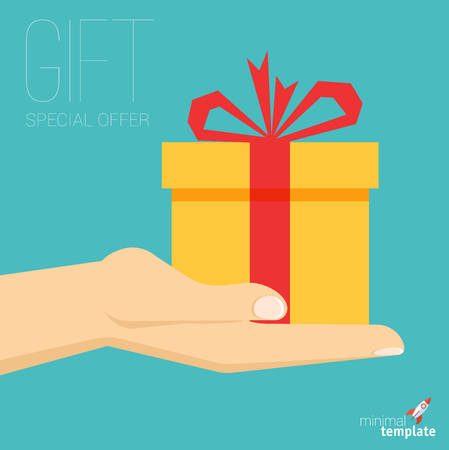 Flat design vector hand with gift box icon for application interface, presentation and web design. The concept template for special offer, Christmas and New Year, gift option, sale and discount. Illustration