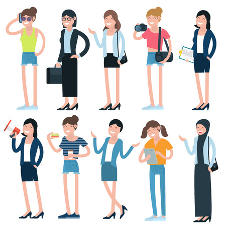 phoning: Cartoon girls and women characters and professions. Flat design, vector template illustration . Illustration