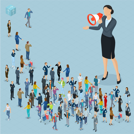Isometric front and back view people with loudspeaker. Megaphone alert promotion. Various characters, professions, and poses. Illustration