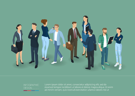 People crowd. Man and woman, various characters, poses and professions, front and back view. Isometric vector presentation and banner template.