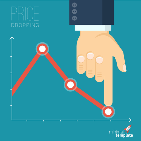 Flat design vector illustration of businessman creating decreasing business graph. Vector abstract price drop and sale countdown.