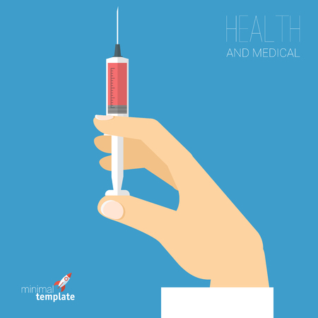 Doctor hand holding vaccine syringe. Nurse holding injector with drugs. Flat design abstract vector icon template.