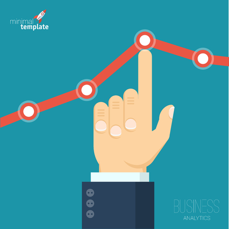 Flat design vector illustration of businessman creating increasing business graph. Vector abstract of sales, profit, market share growing chart .