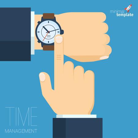 Platte ontwerp tijd management vector abstracte sjabloon Stock Illustratie