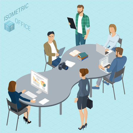 Isometric 3d flat design vector coworking   office. Standing and sitting business people different characters, styles and professions. Isometric acting man and woman  teamwork, front and back view
