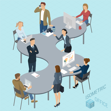 modern business: Isometric 3d flat design vector coworking   office. Standing and sitting business people different characters, styles and professions. Isometric acting man and woman  teamwork, front and back view