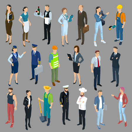 Isometric 3d flat design vector people different characters, styles and professions, full length diverse acting poses collection. Illustration