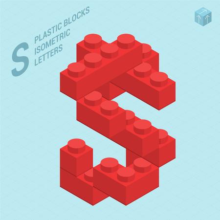 Plastic blokken constructor 3D isometrische platte ontwerp lettertype letter S