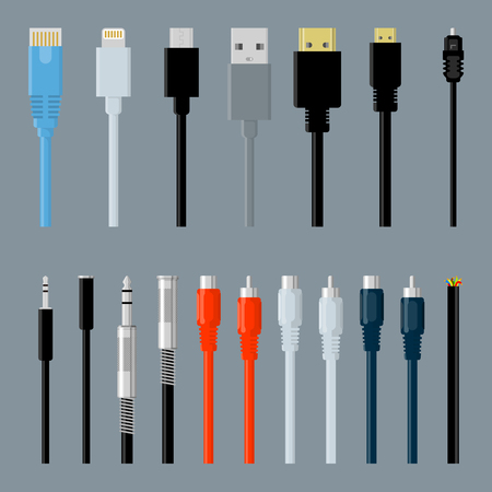 Flat design data, video and audio, usb, hdmi, network data cable connectors  vector design element set