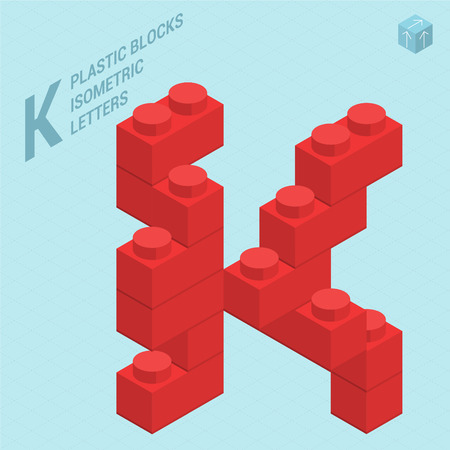 Plastic blocs constructor 3D isometric flat design typeface letter J Illustration