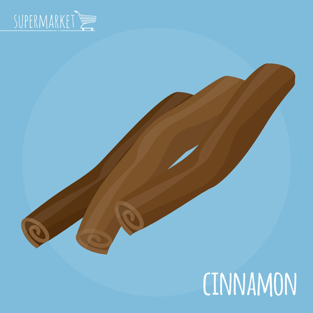 Cinnamon flat design vector icon. Flavor spices and herbs menu template collection. Illustration