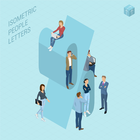 Flat design 3d light isometric typeface numbers decorated with office workplace scenes, working, communicating, acting people, sitting and standing, front and back view. Percent symbol